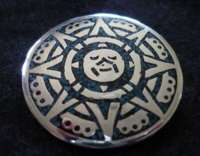 Beautiful Taxco 925 Mexican Silver & Turquoise Brooch Pendant