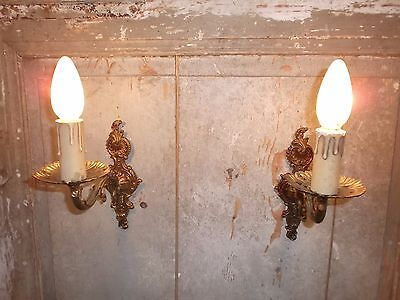 French a pair of patina gold bronze wall light sconces nicely vintage
