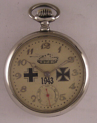 Just Serviced MILITARY WW2 Years Swiss Hi Grade Pocket Watch A+