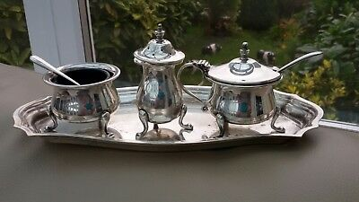 Vintage Silver Plate Charles Truman Burrows Ltd Cruet Set Mustard Salt Pepper