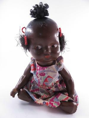 Vintage Composition Black Baby Doll Top Knot Hairstyle 9.5 Inch