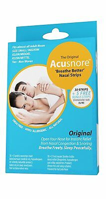 Acusnore Anti Snore & Nasal Congestion 'Breathe Better' Nasal Strips - Small/Med
