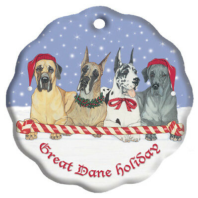 Great Dane Holiday Porcelain Christmas Tree Ornament