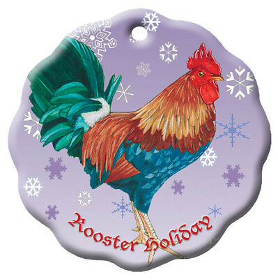 Rooster Chicken Holiday Porcelain Christmas Tree Ornament