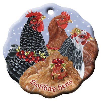Chicken Holiday Porcelain Christmas Tree Ornament