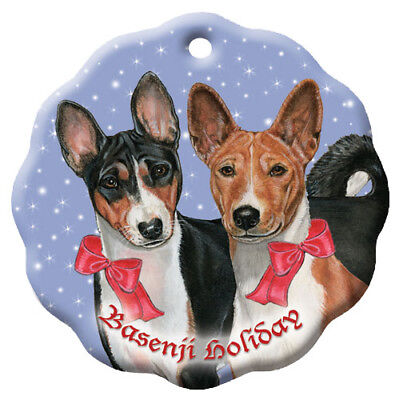 Basenji Holiday Porcelain Christmas Tree Ornament