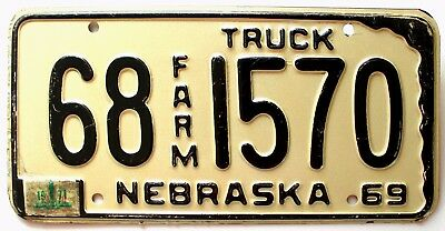 Vintage Nebraska 1969 1971 FARM TRUCK License Plate, 1570, Ogllala, Keith County