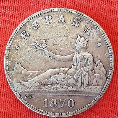 Spain - Silver - 5 Pesetas - First Spanish Republic - Year 1870 -