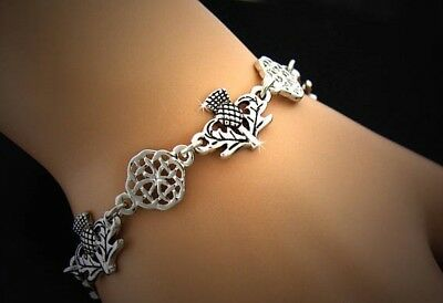 Scottish Thistle and love knot Celtic toggle bracelet