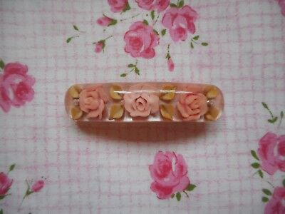 Vintage fashion - 50's, 60's reverse carved lucite hair clip, barrette - roses