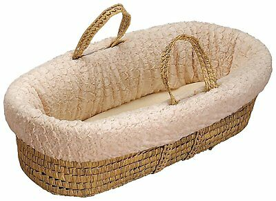 Baby Doll Bedding Sherling Moses Basket, Ivory
