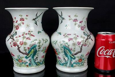 Beautiful Pair Of Chinese 19Th C Famille Rose Birds & Insects Vases / Zhadou