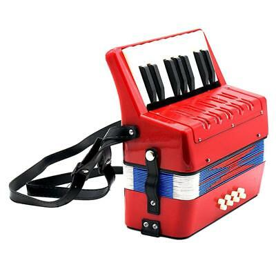 Small Accordion Kids Student Music Instrument Toy Gift 17 Keys 8 Bass Red