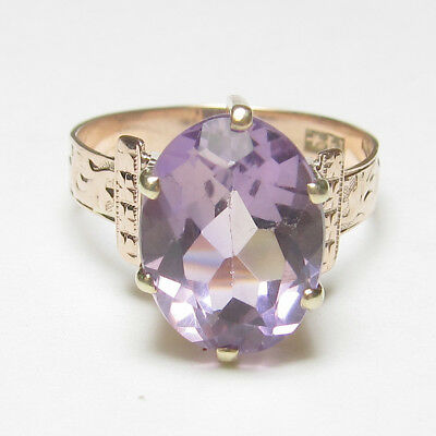 1890s Late Victorian 14K Rose Gold 4.00 Ct Natural Oval Purple Amethyst Ring