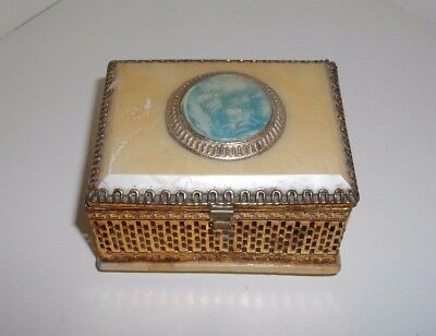 An old pierced gilt metal trinket box with mirrored interior & roundel set lid