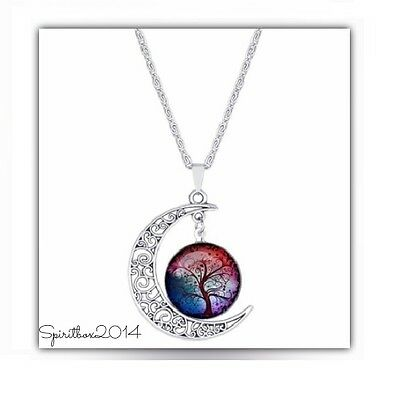 Vintage Hollow Silver Moon Tree of Life Pendant Necklace Wiccan Pagan Jewellery