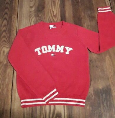 Tommy Hilfiger Vintage Kids Sweater Girls Size Small Classic Red Sparkly