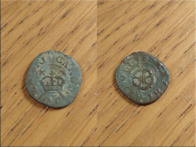 Rose Farthing Charles 1st Metal Detector Find as Found UnCleaned