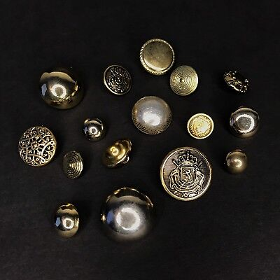 16 Vtg Brass Shank Buttons Old Metal Dome Buttons