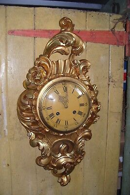 Striking Bell Swedish Gilt Carved Wood Large Wall Clock By Westerstrand Toreboda