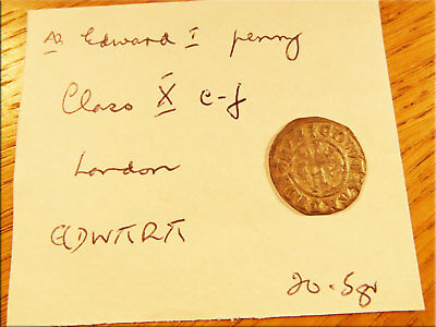 Edward Penny Class X c-f London Mint Silver Hammered Medieval Coin Detector Find