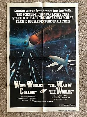 War of the Worlds/When Worlds Collide vintage 27x41 one sheet movie poster. R77