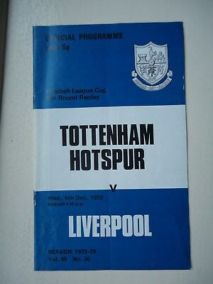 1972/73 Tottenham Spurs v Liverpool League Cup 5th Round Replay Programme