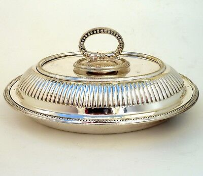 Silver Lidded Entree Dish With Detachable Handle With Ribbed Decoration
