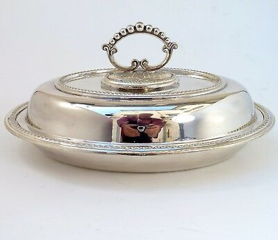 Silver Lidded Entree Dish With Detachable Handle By Slack & Barlow
