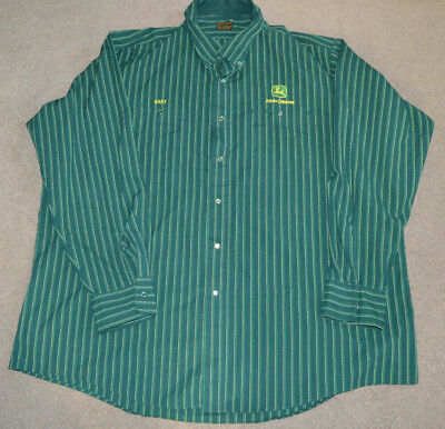 Vtg John Deere L/S Uniform Shirt Protexall Green Snap Buttons 3XL Jumbo Costume
