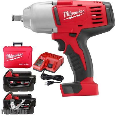 "Milwaukee 2663-22 18 Volt 1/2"" High Torque Impact Wrench Kit w/ Hog Ring New"