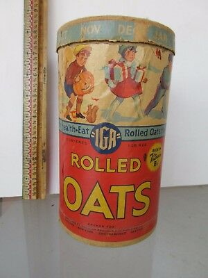 """Iga Rolled Oats  Cardboard Canister - 7 1/4"""" Tall -  1Lb. 4Oz."""