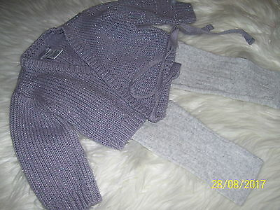 Baby Grey Cardigan. Size 00, Brand Fredbare. & Tights.