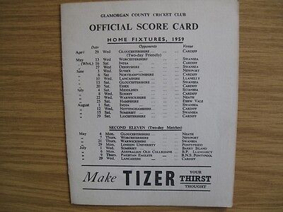 SCORECARD - GLAMORGAN  v INDIANS @SWANSEA - AUGUST 1959