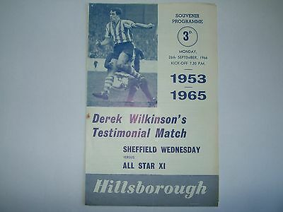 Sheffield Wednesday v All Star XI (D Wilkinson Test) - 26th Sep 1966