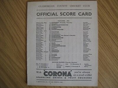 SCORECARD - GLAMORGAN  v PAKISTAN @SWANSEA - AUGUST 1954