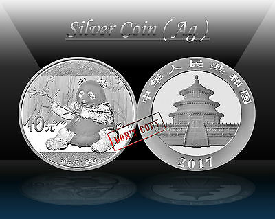 CHINA - PANDA 10 YUAN 2017 (Ag 999/1000) Silver coin 30g * BU / UNCIRCULATED
