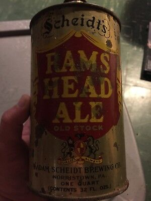 Sheidt's Rams Head Ale Quart Cone Top Beer Can