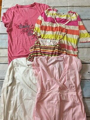 Lot of 5 Size Large L Maternity Tee Shirts Tops Pink White Spring Summer C31