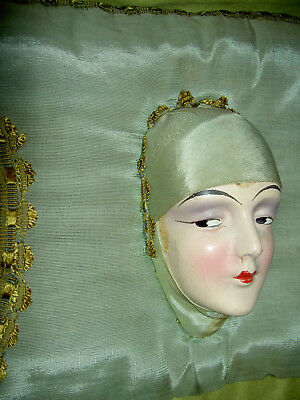 Unusual, sultry & rare Antique 1930s, boudoir, bed doll head decorative pillow