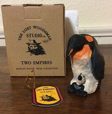 """The Lost Woodsman Studio """"Two Penguin Figurine Rowley Polar Bear Collection New"""