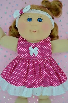 "Play n Wear Doll Clothes For 14"" Cabbage Patch HOT PINK POLKA DOT DRESS~HEADBAND"