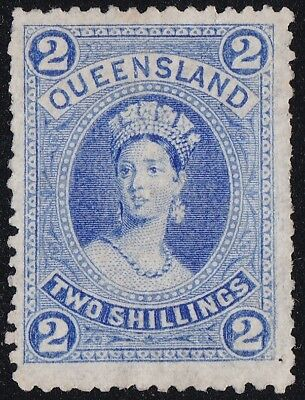 Stamps Australia - Queensland 2/- Blue Thin Paper - Mint No Gum.