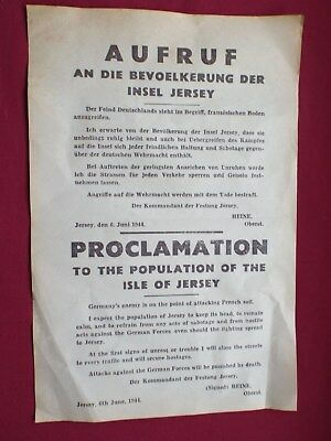 Ww2 German Warning Poster To The People Of Occupied Jersey Dated  D. Day 1944