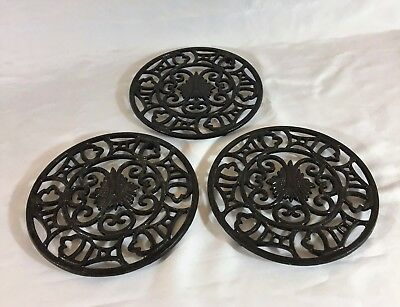 "One of these Cast Iron Trivets Hot Plate Black 7.5"" diameters by ½"" high"