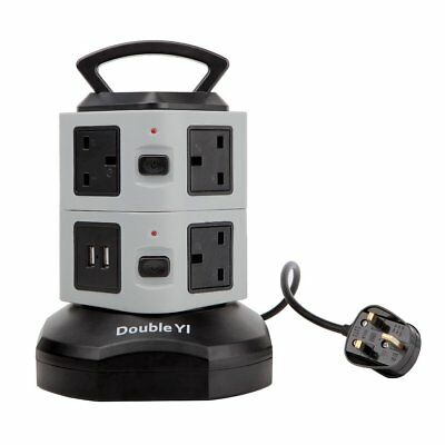 DoubleYI Extension Lead Vertical Power Strip 7 Way UK Outlets 2 Smart USB Ports