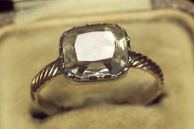 Antique Georgian English 15K Gold Silver Foiled Rock Crystal Solitaire Ring 1750