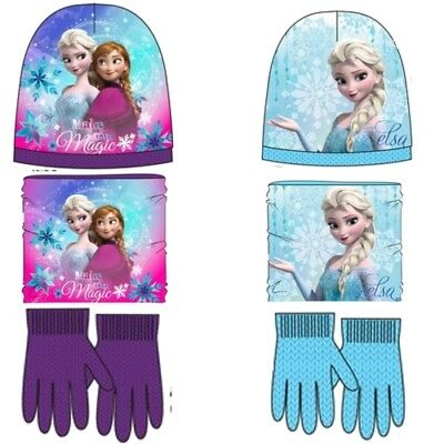 Disney Frozen Mütze Loop Handschuhe Set Schal Halssocke Winter Kinder Set Elsa