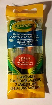 Crayola Washable Dual-Color Markers Set of 3 Marquers - 6 colors NEW SEALED PACK
