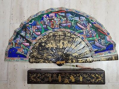 Beautiful Large Chinese 19Th C Canton Famille Rose Lacquer 1000 Figures Fan